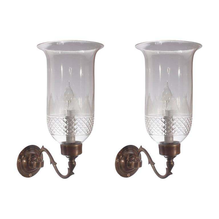 Pair of English Cut Glass Hurricane Shade Sconces at 1stdibs