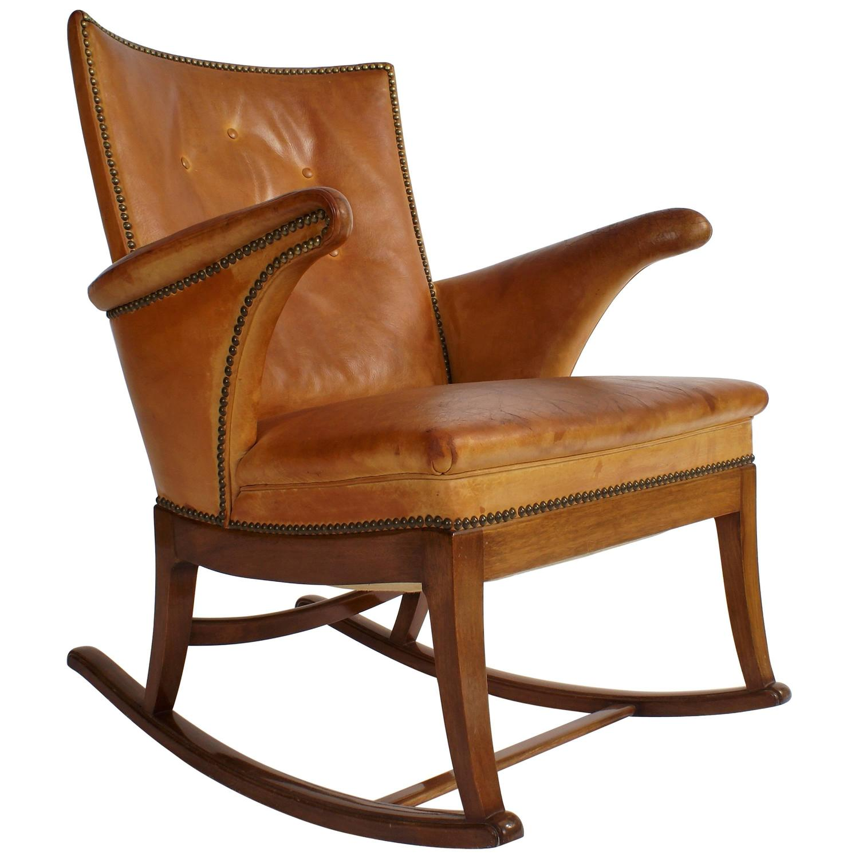 Frits Henningsen 1930s Rocking Chair in Cuban Mahogany and Natural