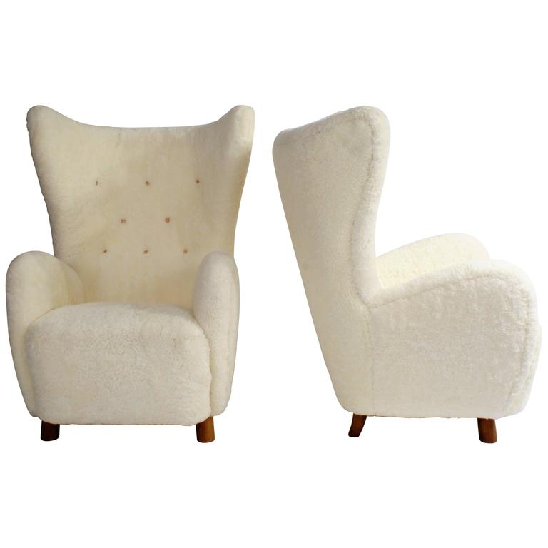 Mogens Lassen Pair of 1940s 'Wing' Easy Chairs in Sheepskin