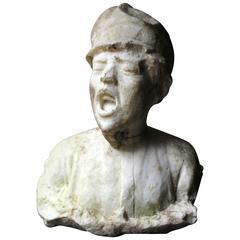 White Marble Bust of a Working Class Boy by Aimé-Jules Dalou, circa 1860-1880