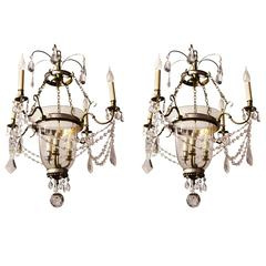 Pair of Chandeliers Attributed to Maison Jansen, France, Late 1960s