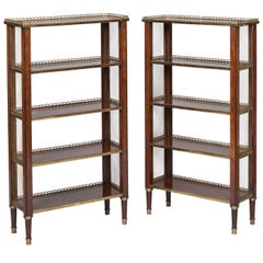 Pair of French Mahogany and Bronze Open Bookcases