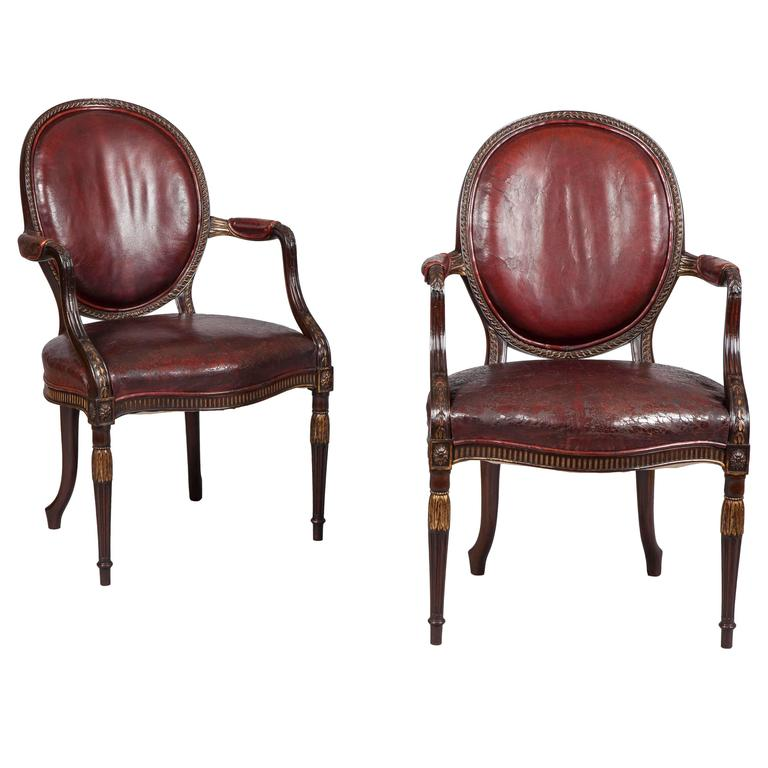 Pair of English Mahogany and Leather Armchairs in the Neoclassical Style