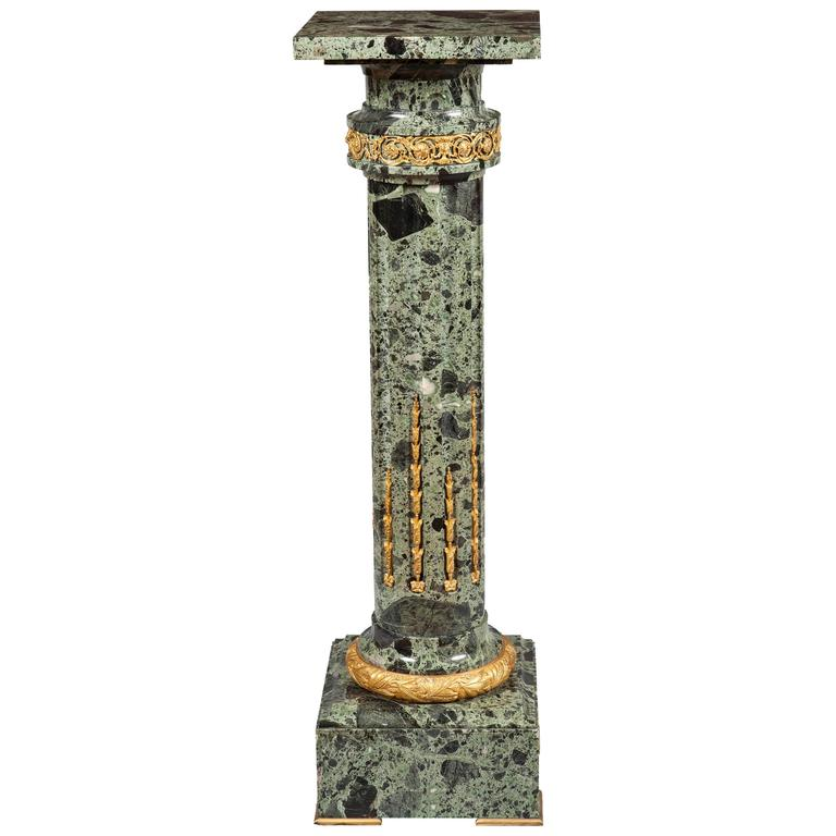 French 19th Century Green Marble and Ormolu Pedestal