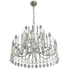 Huge Gaetano Sciolari Large Three-Tier Modernist Crystal Chandelier, Italy, 1960