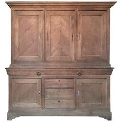 19th century French Louis Philippe Deux Corps Cabinet in Solid Bleached Oak