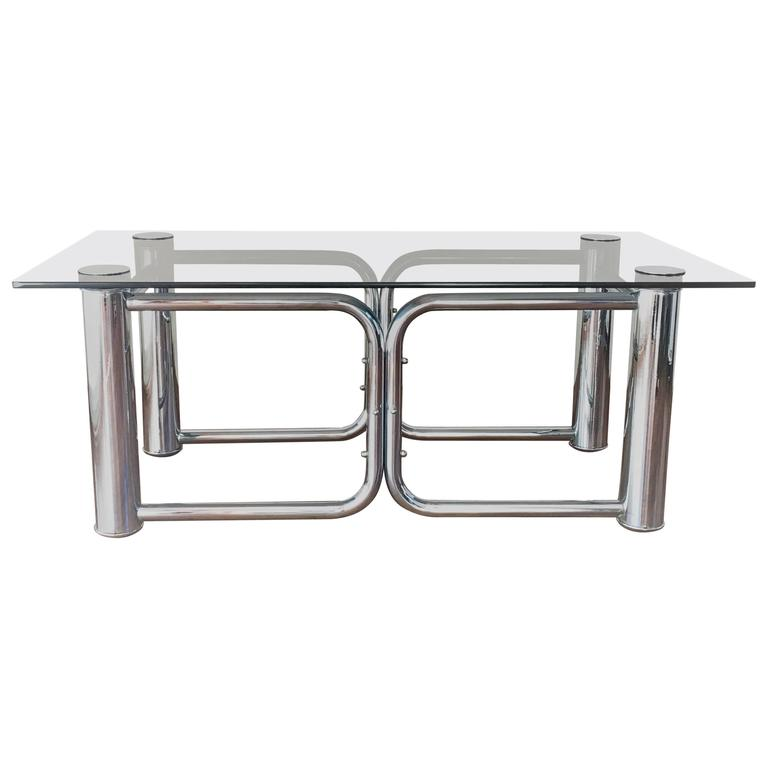 Mid Century Modern Chrome Coffee Table With Smoked Glass Top For Sale At 1stdibs