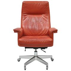 Vintage De Sede DS 35 Red Leather & Chrome Caster Executive Swivel Desk Chair