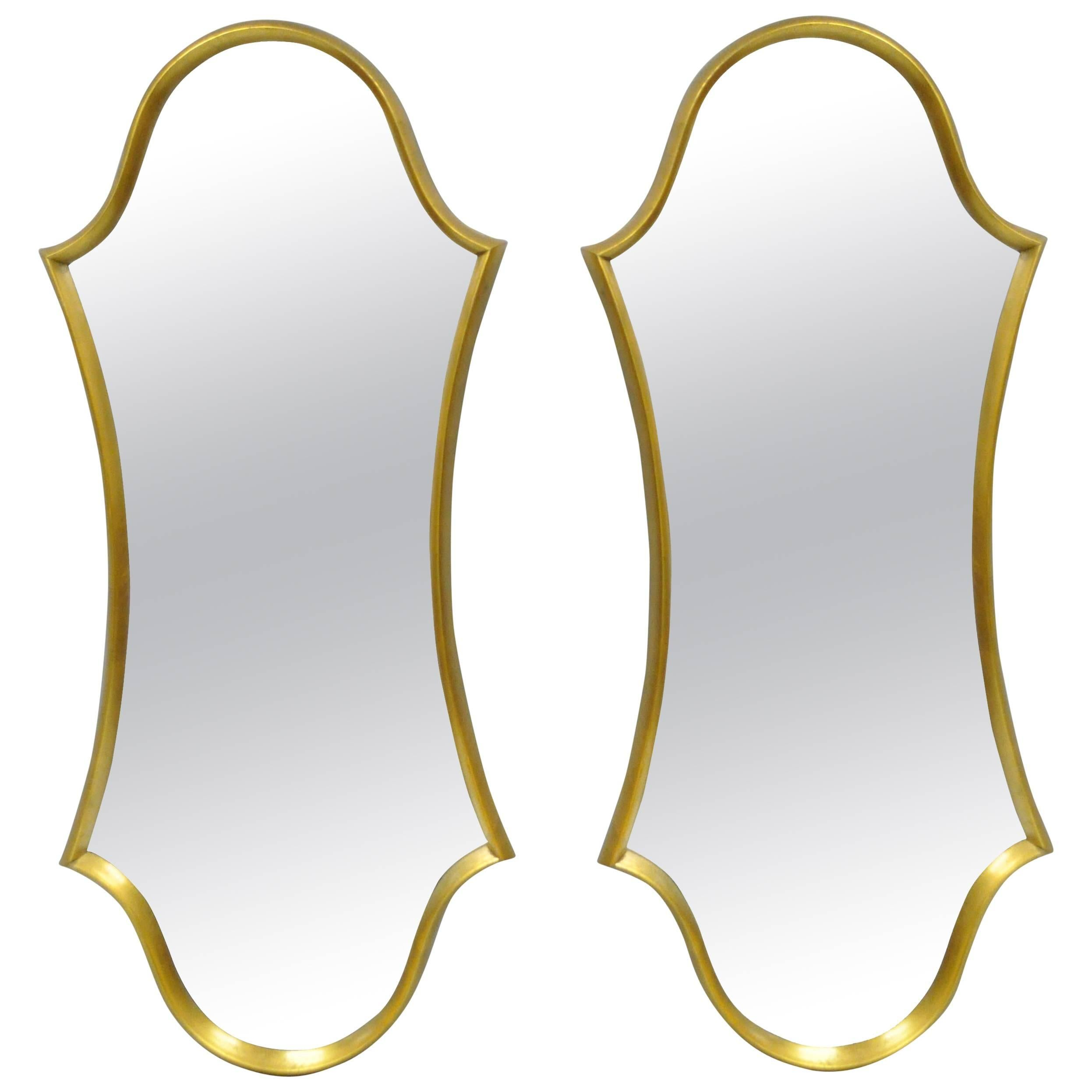 Pair of Hollywood Regency Wood Frame Gold Leaf Keyhole Wall Mirrors Attr Labarge