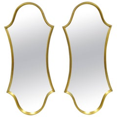 Pair of Hollywood Regency Wood Frame Gold Leaf Keyhole Wall Mirrors Attr Labarge