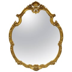 """Large French Rococo Louis XV Style Shell and Floral Carved 65"""" Gold Wall Mirror"""