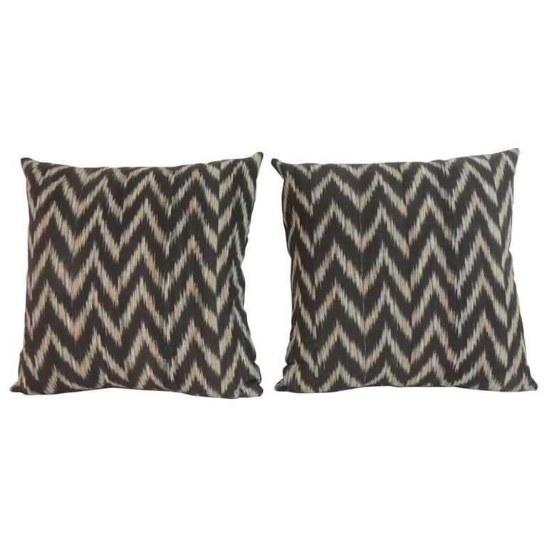 Pair of Vintage Ikat Colorful Decorative Pillows For Sale at 1stdibs