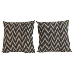 Pair of Vintage Ikat Colorful Decorative Pillows