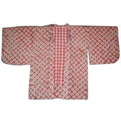 Hand Dyed Shibori Silk Haori Jacket from the Showa Period Cinnabar Red and Grey