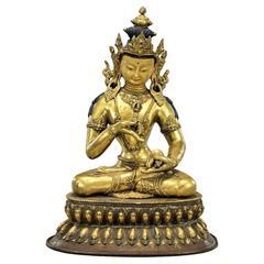 Fine Sino-Tibetan Bronze Statue of Vajrasattva Bodhisattva