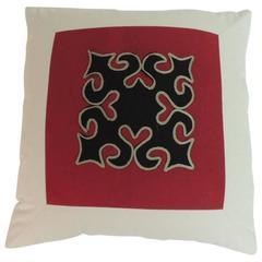 Handmade Cotton Appliqué Thai Yao Textile Vintage Decorative Pillow