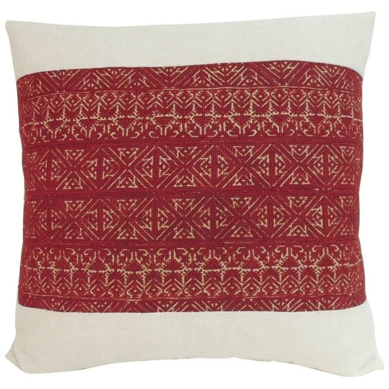 19th Century Embroidered Artisanal Textile Fez Decorative Pillow