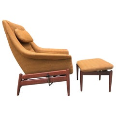 Povl Dinesen Danish Modern Lounge Chair and Ottoman