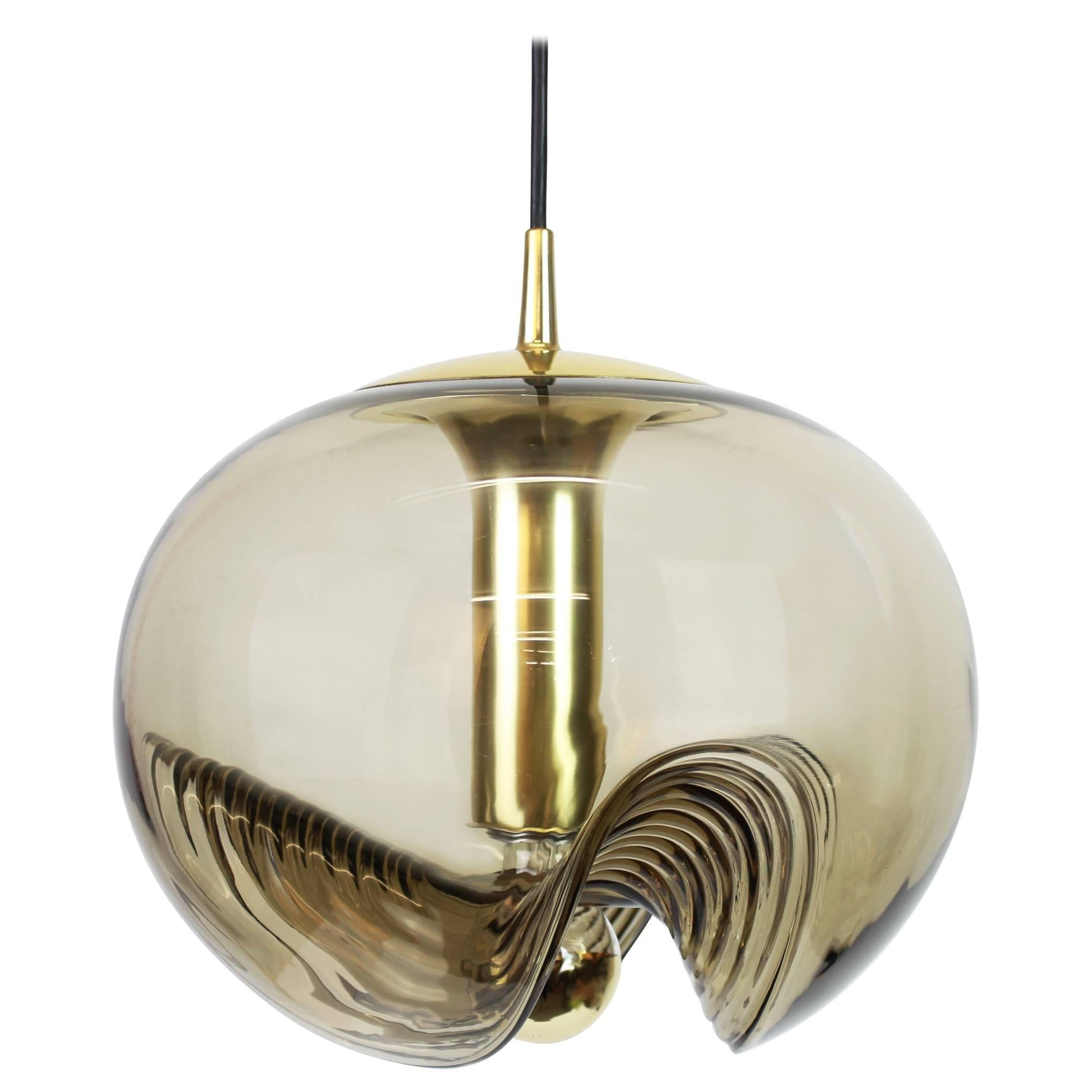 One of four Large Smoked Glass Pendant Light by Peill & Putzler, Germany, 1970s
