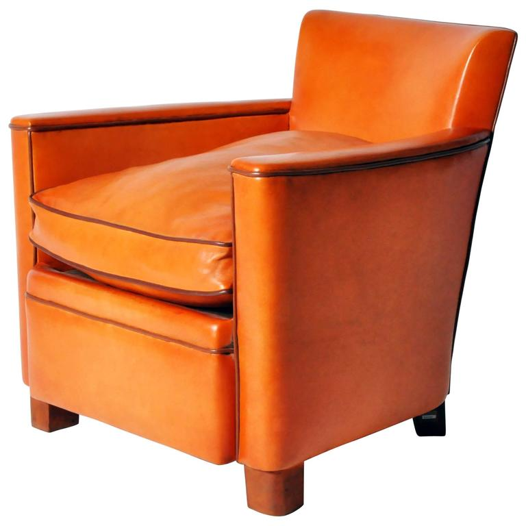 Petite Leather Club Chair At 1stdibs
