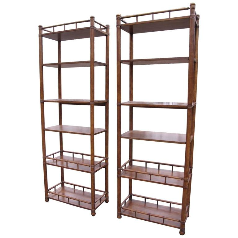 pair of drexel faux bamboo etageres at 1stdibs. Black Bedroom Furniture Sets. Home Design Ideas