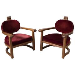 Set of two Art Deco Lounge Chairs in Solid Oak and Red Upholstery