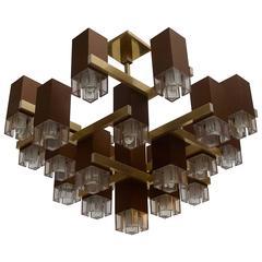 Pristine Sciolari 20 Cubic Lacquered Brass Chandelier, 1970s, Italia