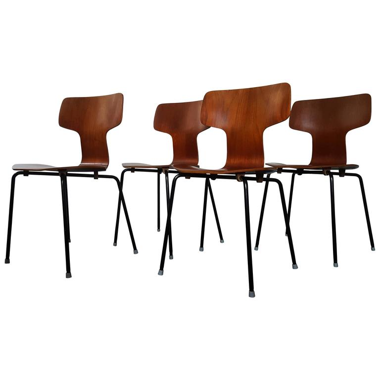 Model 3103 Teak Hammer Chairs By Arne Jacobsen For Fritz Hansen, 1960s For  Sale
