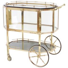 Chic Octagonal Brass Dessert Cart or Drinks Trolley