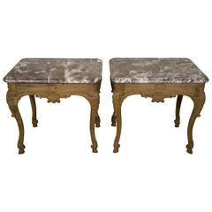 Pair of 19th Century French Regence Style Oak Marble-Top End Tables