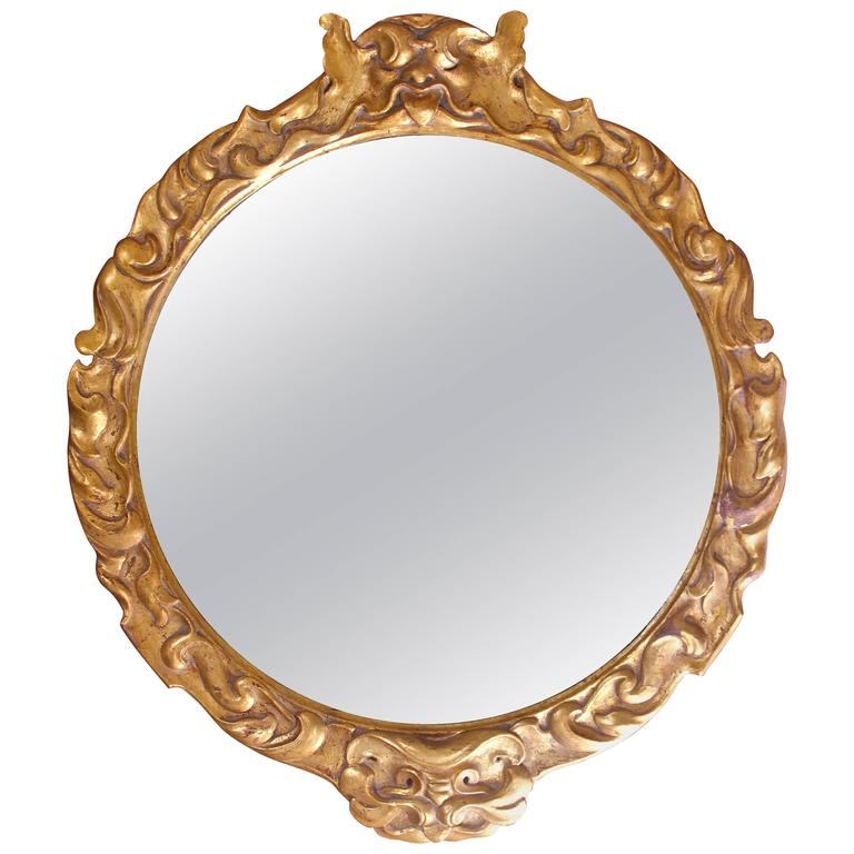 Antique Italian Neo-Baroque Hand-Carved Giltwood Wall Mirror, circa 1910 For Sale