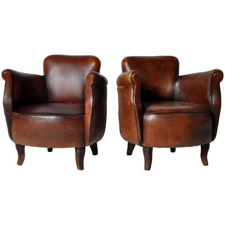 Pair Of Petite Brown Leather Club Chairs At 1stdibs