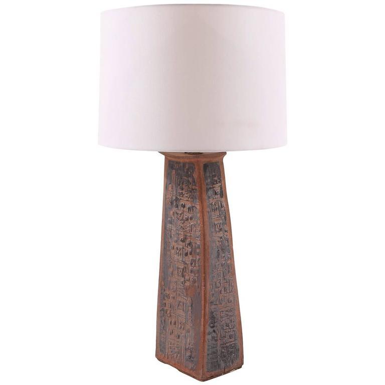 Sculptural Studio Large Ceramic Table Lamp For Sale