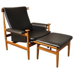 Danish Teak Bwana Lounge Chair with Ottoman by Finn Juhl for France & Son