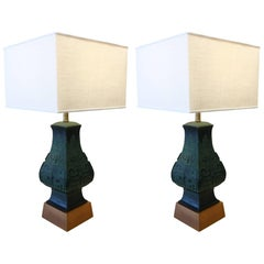 Pair of Bronze Table Lamps in the Manner of James Mont