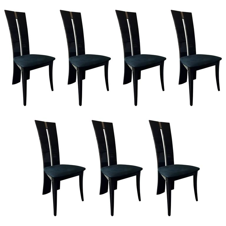 Contemporary Postmodern Italian Dining Chairs In Charcoal