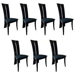 Contemporary Postmodern Italian Dining Chairs in Charcoal Lacquer Finish