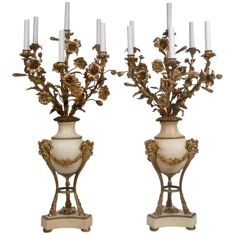 Large Pair of Louis XVI Style Gilt Bronze and Marble Candelabra For Sale