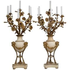 Large Pair of Louis XVI Style Gilt Bronze and Marble Candelabra