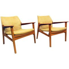 Teak and Suede Safari Chair by Hans Olsen at 1stdibs