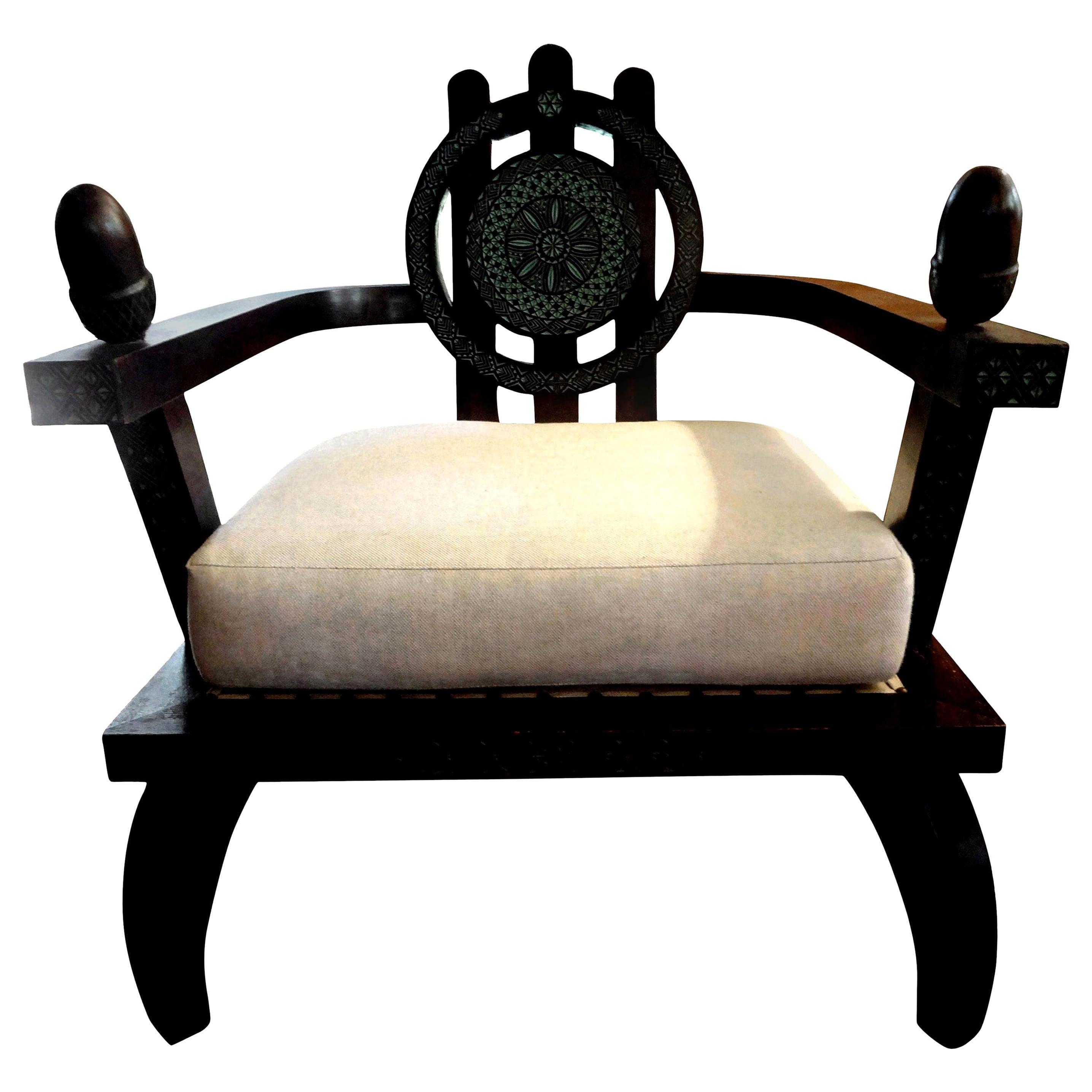 Italian Carlo Bugatti Inspired Lounge Chair by Ettore Zaccari, Milan