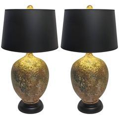Large Mid-Century Modern Glazed Porcelain Lamps