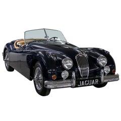 Vintage 1955 Jaguar XK 140MC OTS Navy Blue Car