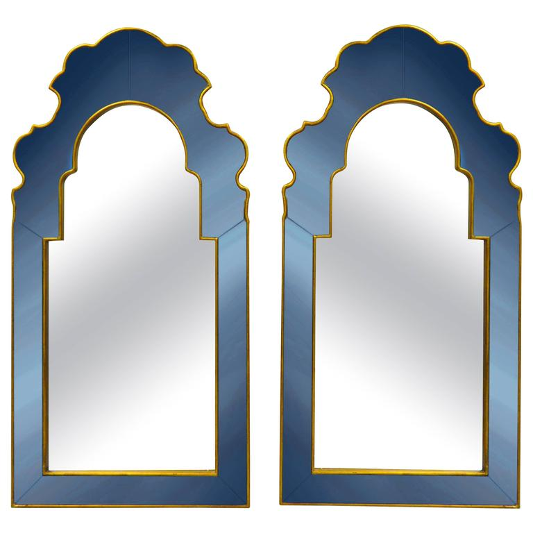 pair of bunny williams for mirror image home sapphire blue and gold wall mirrors 1