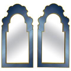 Pair of Bunny Williams for Mirror Image Home Sapphire Blue and Gold Wall Mirrors