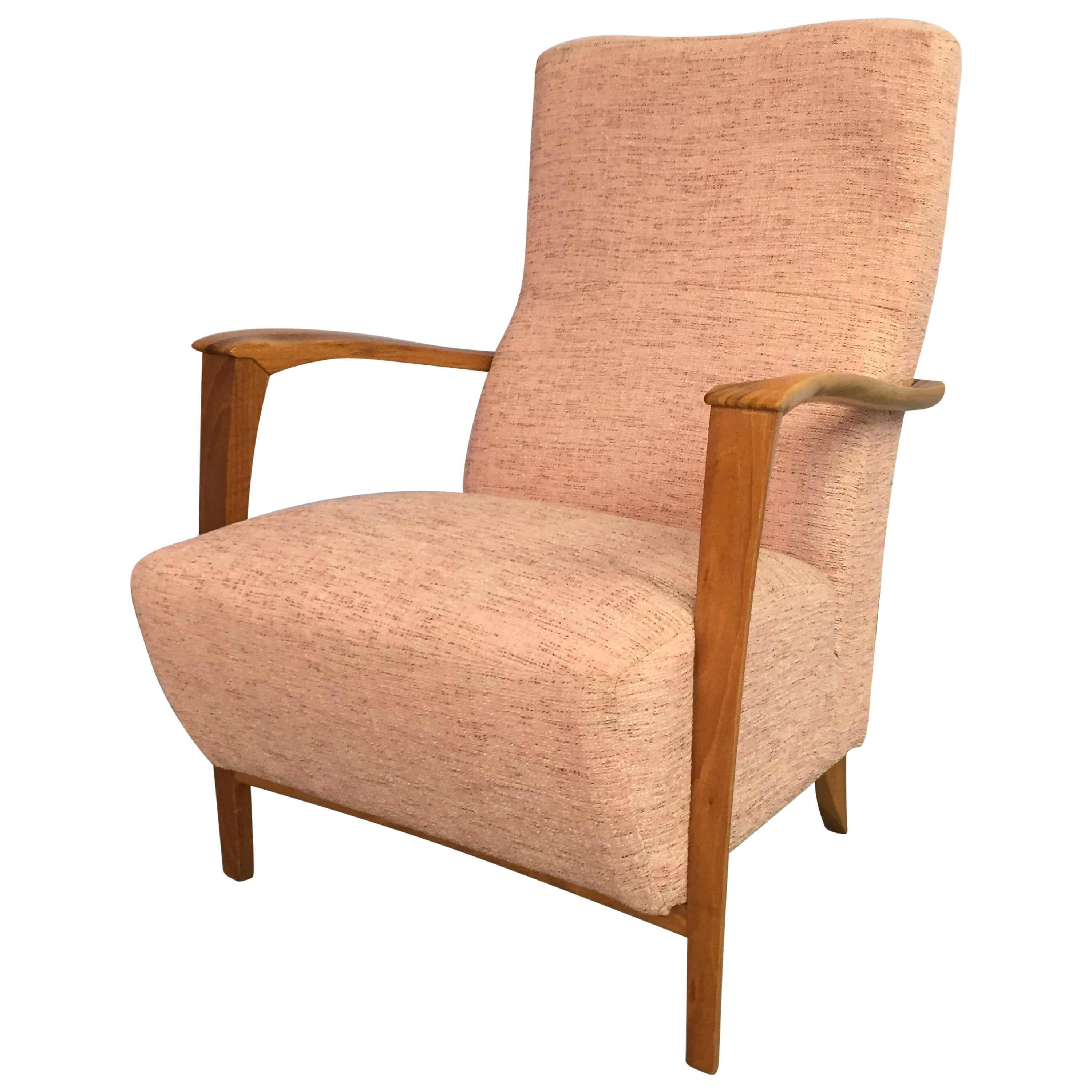 Italian Armchair with Carved Wood Frame and Salmon Upholstery