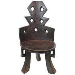 Ethiopian Angular Carved Chair