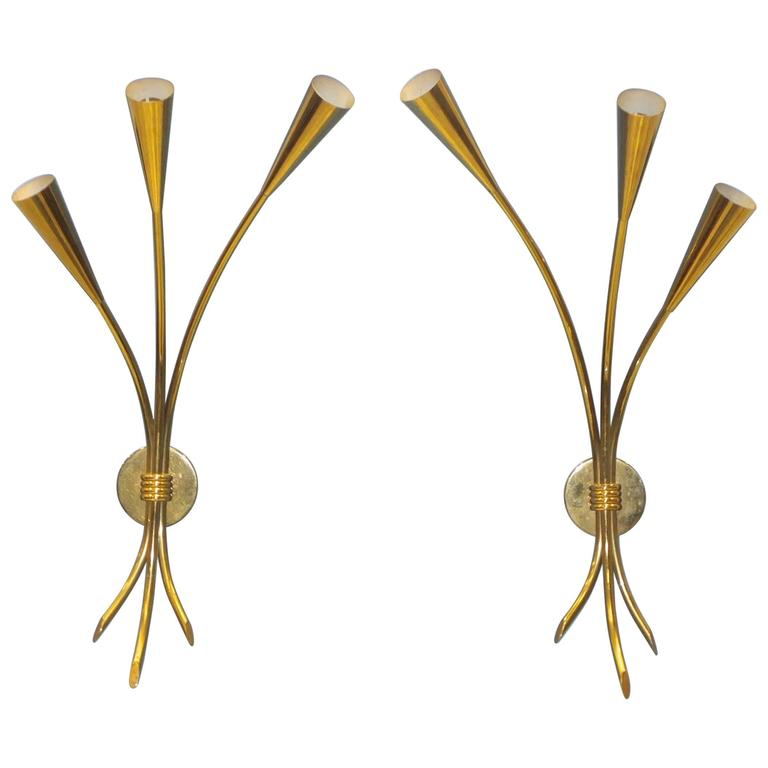 Pair of Brass Three-Arm Sconces by Lunel For Sale