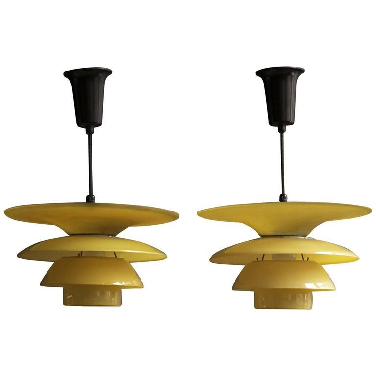 Poul Henningsen 4/ 3.5 /3 Four-Shade Pendant Lamps in Yellow Painted Matt Glass For Sale