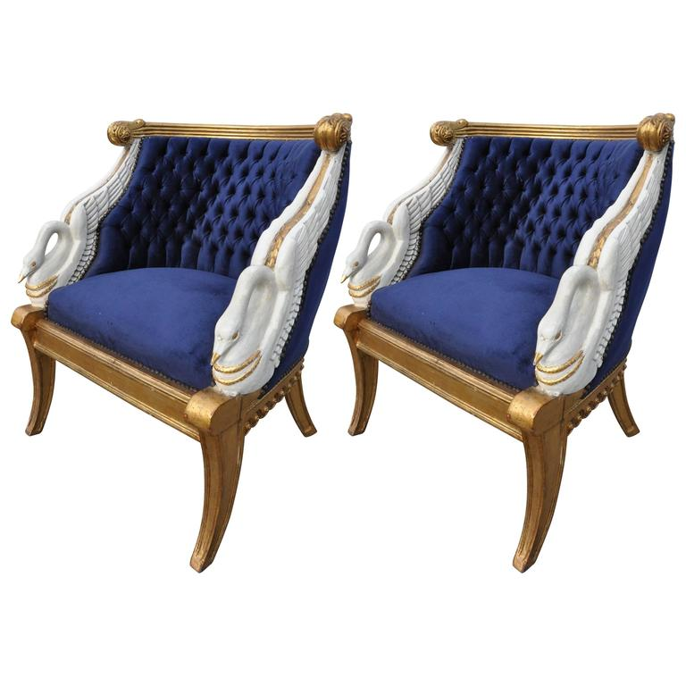 Pair Of Gilt Empire Style Swan Chairs After Jacob For The Empress Josephine  For Sale